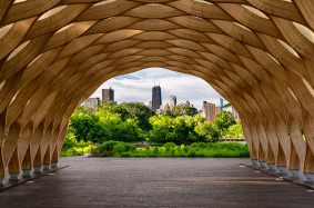 Often called the Honeycomb, The Nature Boardwalk at Lincoln Park in Chicago, provides a great view of downtown Chicago and the Hancock Tower.