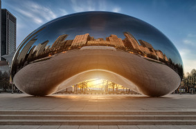 "Sunrise at Cloud Gate, commonly referred to as ""The Bean"" in Millenium Park, Chicago, Illinois."