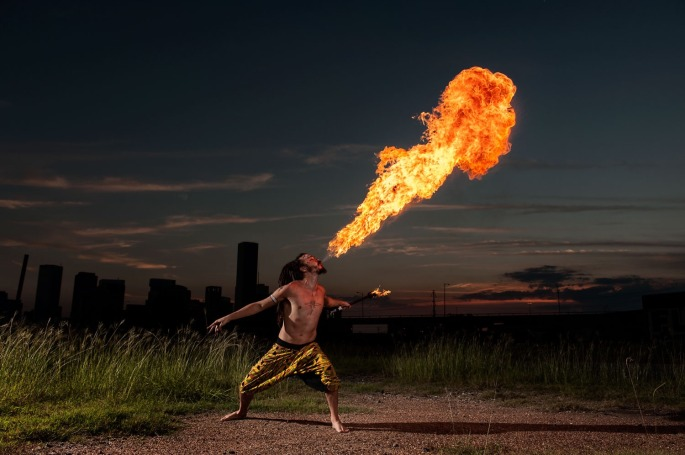 John stands a bit smaller than many fire breathers but his flames are second to none.