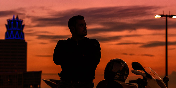A simple silhouette of Todd and his BMW S1000RR shot by Brian Vogel in Houston, Texas.